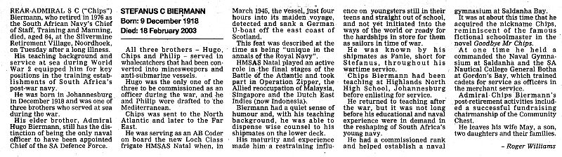 This obituary appeared in the Cape Argus on the 21st. February 2003