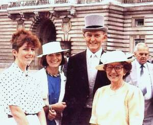 John & Sheila Shone with daughters at garden party, Buckingham Palace 1983