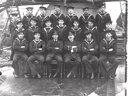 Sub-Lieutenant A.A. Porter CTNCC and Sea Cadet crew after voyage from UK.- March 1921