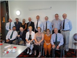 AUSTRALIA BRANCH - AGM and Commissioning Day Lunch Front Row; Andy Fotheringham, Fred More, Maureen More, Jenny O'Hare, Jill Hoatson, Brian Hoatson. Back Row; Mike Pomfret, Simon Reynolds, David Greenhaulgh , Peter O'Hare, Loriol Williamson (Conway) , Alasdair Snyders, Geoff Rae (Pangbourne).