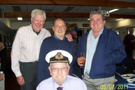 John Fisher (left) celebrated his 90th birthday in style at the Largs Bay Yacht Club last Saturday.  With him are John Sampson, Capt. George Carter - a long time friend of Botha boys and Mike Carrington 75/76.